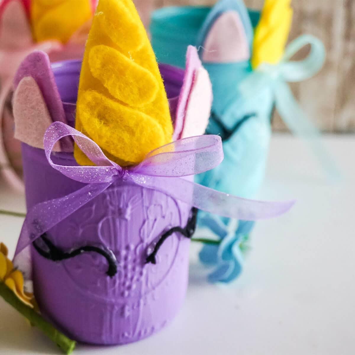 unicorn mason jar cricut craft