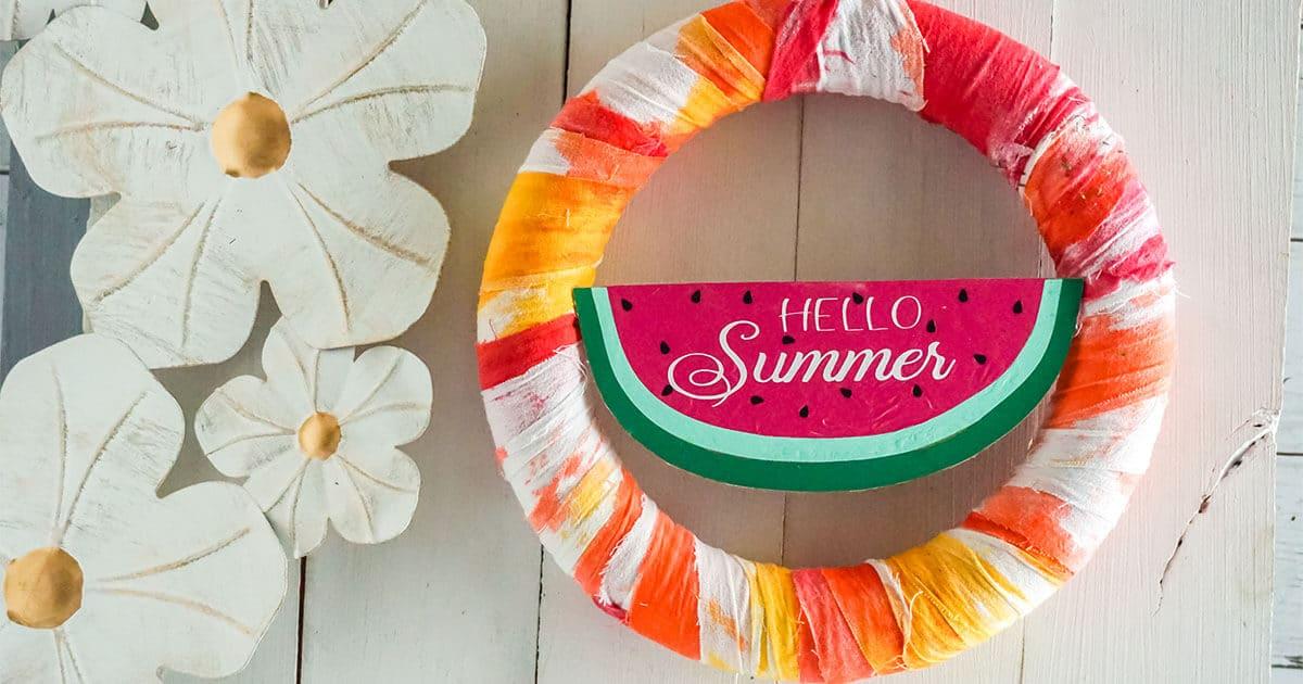 watermelon summer wreath cricut craft