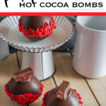 easy hot chocolate bomb recipe with text which reads kit kat hot cocoa bombs