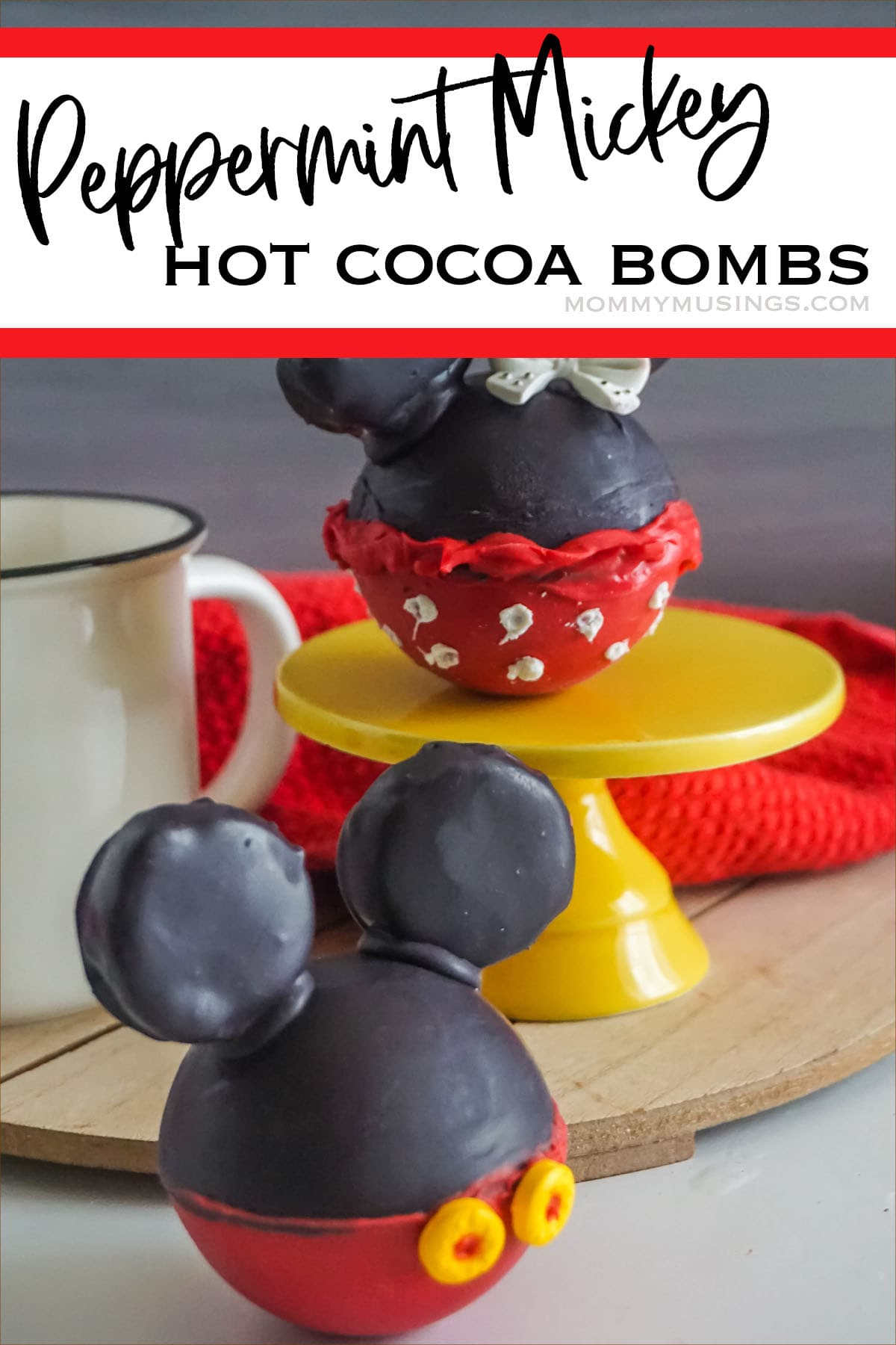 peppermint flavored hot cocoa bombs with mickey ears with text which reads peppermint mickey hot cocoa bombs