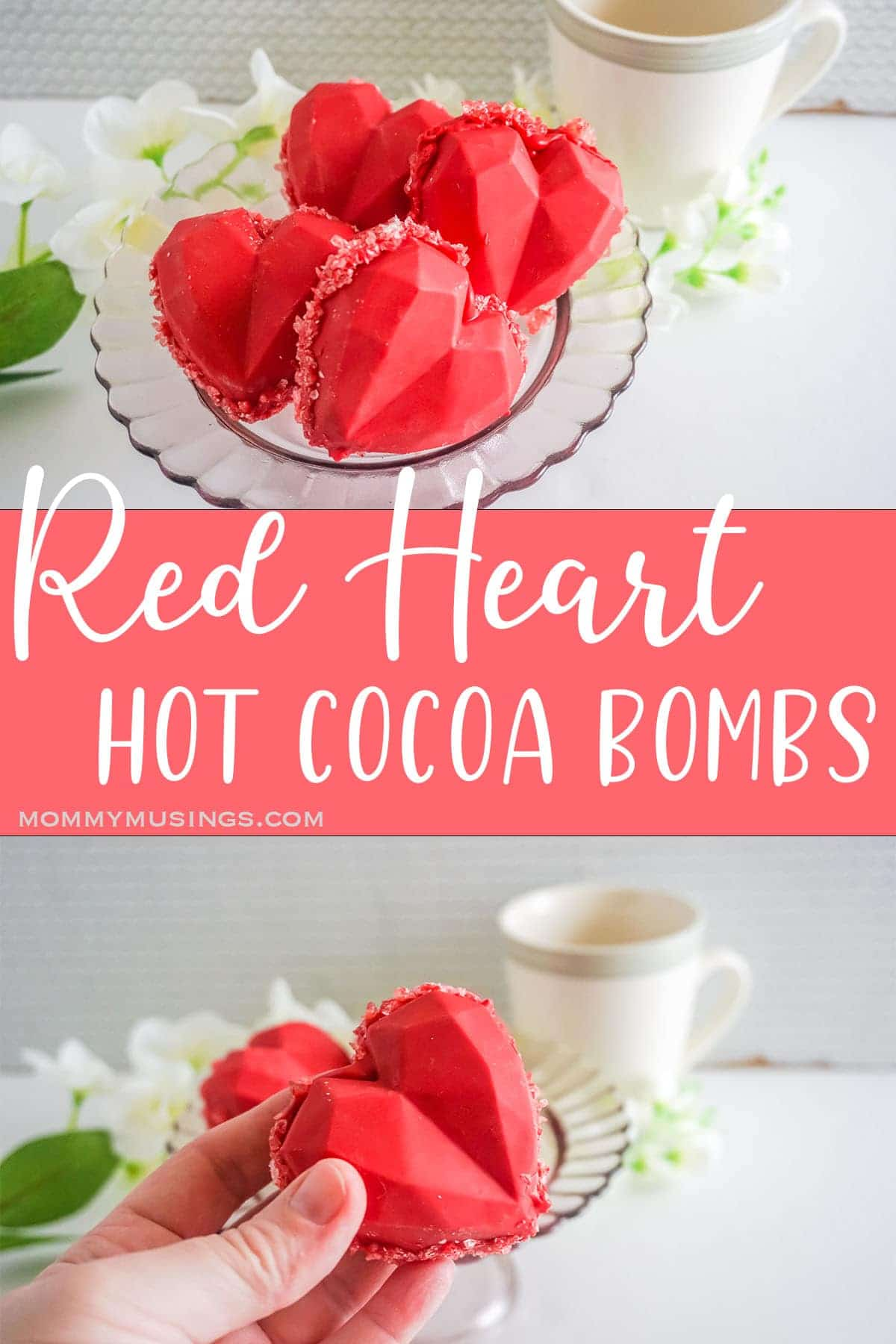 photo collage of heart shaped hot cocoa bombs with text which reads Red Heart Hot Cocoa Bombs
