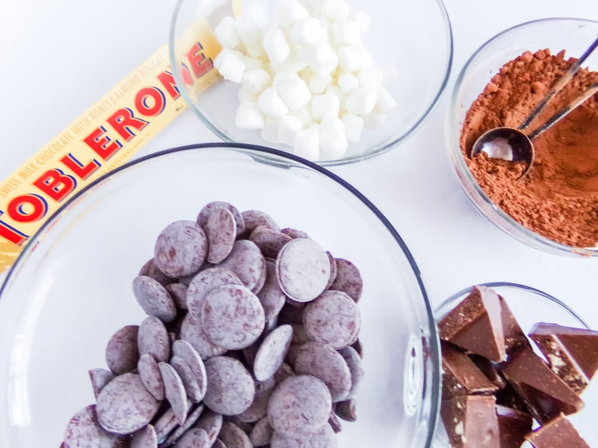 ingredients to make toblerone hot cocoa bombs