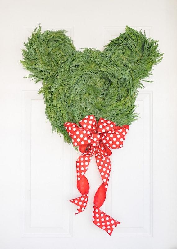 Mickey Mouse Fresh Greenery Holiday Door Wreath
