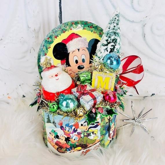 Mickey Mouse Christmas Tin Vintage Decor Piece