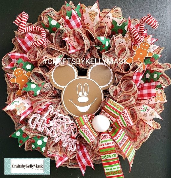 Christmas Gingerbread Wreath in Honor of Mickey Mouse. Burlap | Etsy