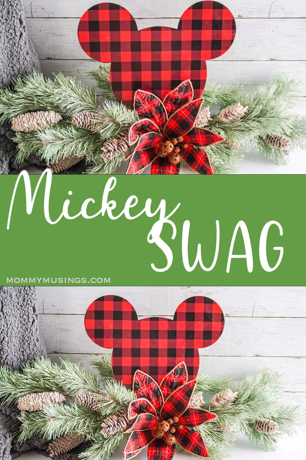 photo collage of easy mickey mouse cricut craft with text which reads mickey swag