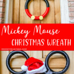 photo collage of mickey ribbon wreath for christmas with text which reads mickey mouse mouse christmas wreath