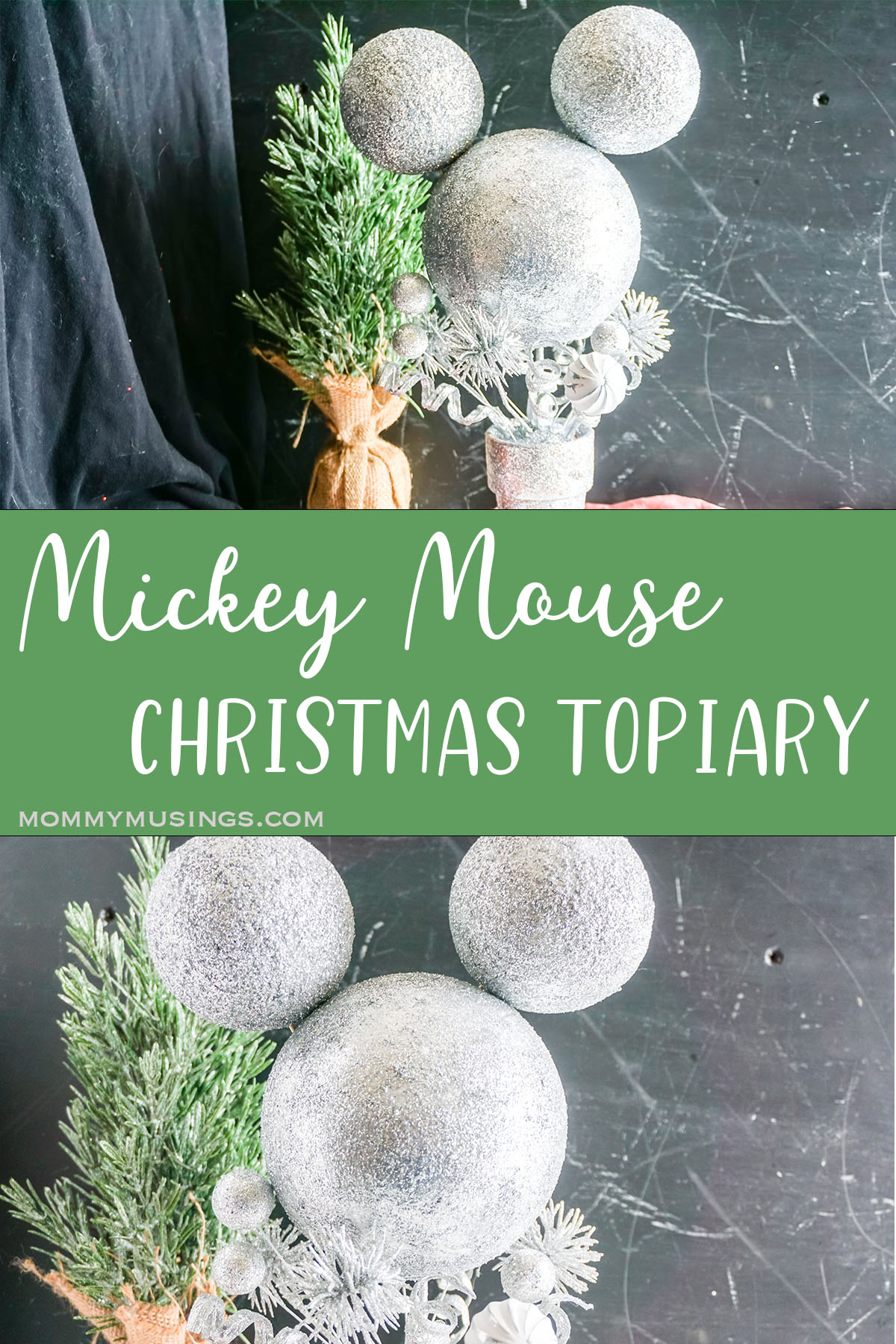 photo collage of easy Mickey christmas craft with text which reads mickey mouse christmas topiary