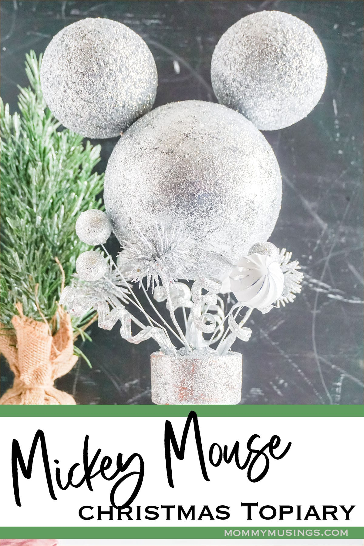 mickey holiday topiary diy with text which reads mickey mouse christmas topiary